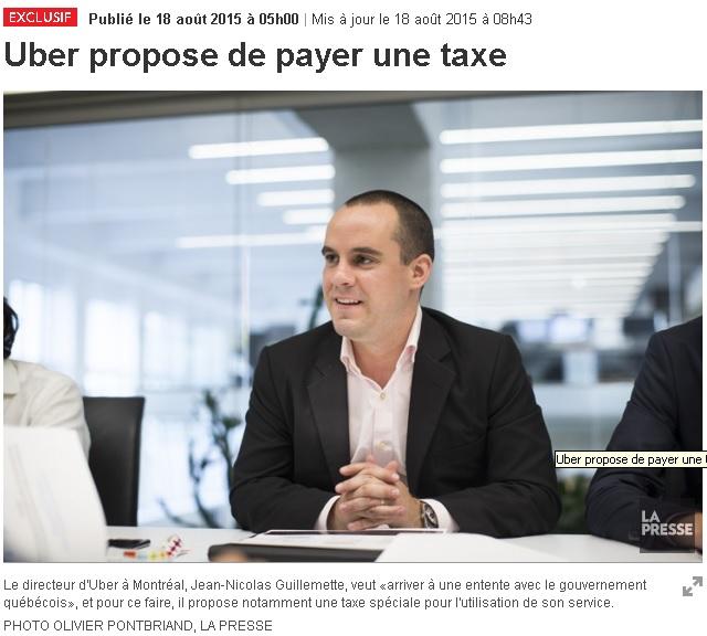 Direktur Uber Montreal menawarkan untuk membayar 10 cents per penumpang ke kota Montreal.