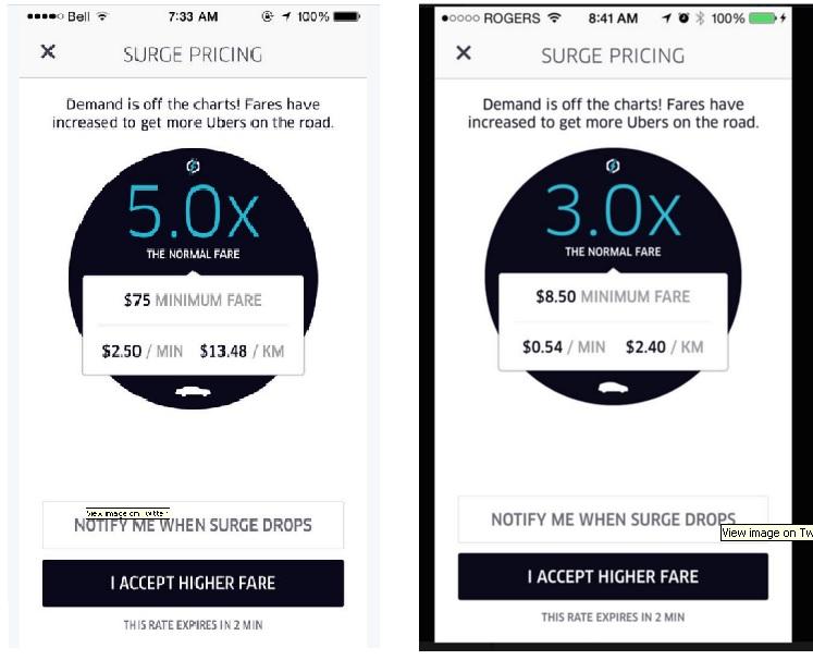 Harga Uber melonjak sampai 5x lipat di 8 Juni 2015, Toronto (Sumber MetroNews.ca)