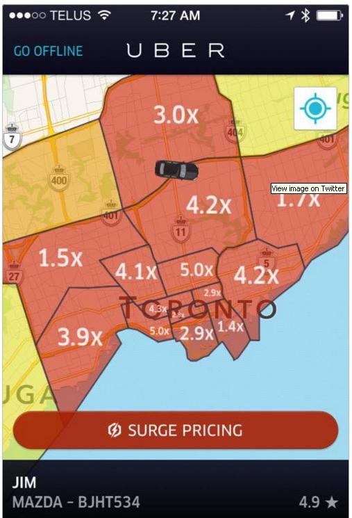 Lonjakan harga saat MRT ditutup di Toronto.