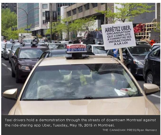 Demo sopir taksi di Montreal anti Uber.