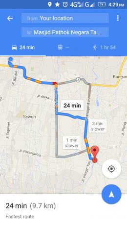 Rute menuju Masjid At Taqwa dari Masjid Dongkelan diakses menggunakan jaringan 4G (googlemaps)