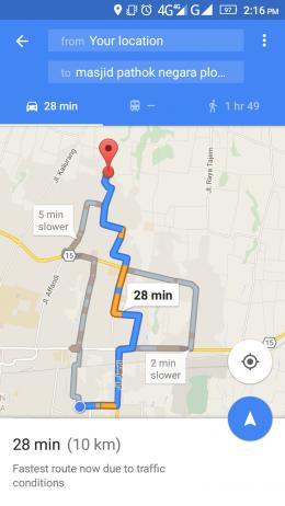 Rute menuju Masjid Plosokuning dari Masjid Ad Darojad segera diketahui melalui kecepatan jaringan 4G (googlemaps)