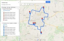 Rute jelajah masjid pathok negara dibuat dengan cermat menggunakan koneksi 4G (googlemaps)