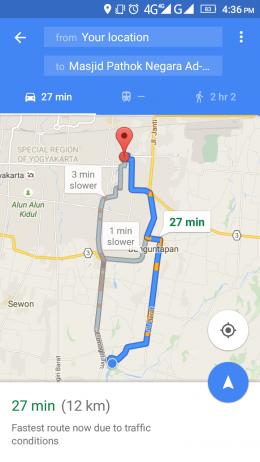 Rute menuju Masjid Ad Darojat Babadan dari Masjid At Taqwa (googlemaps)