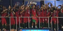 PATRIK STOLLARZ/AFP Portugal menjadi juara Piala Eropa 2016 seusai menang 1-0 atas Perancis