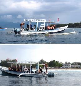 Kapal menunggu wisatawan diving atau snorkeling (koleksi pribadi)