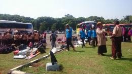 Salah satu rombongan yang baru tiba di Bumi Perkemahan Pramuka Wiladatika Cibubur, Jakarta Timur. (Foto; ISJ)