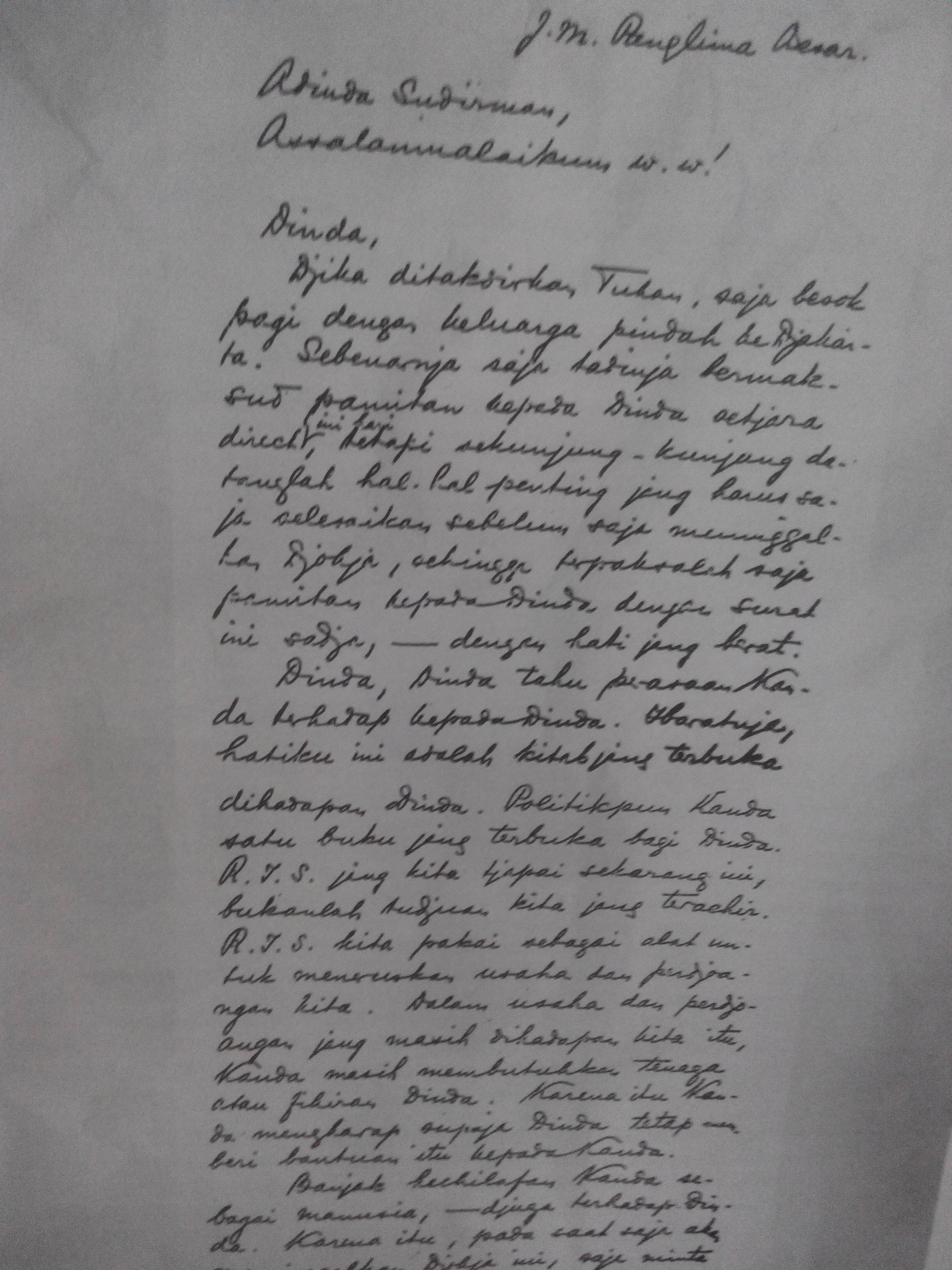 Surat Bung Karno kepada Jenderal Soedirman ((Arsip)