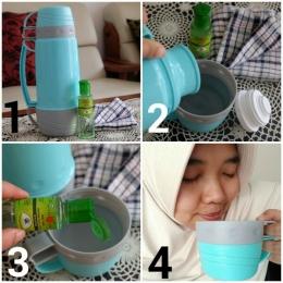 1. Siapkan air hangat dan Kayu Putih Aromatherapy | 2. Tuang air hangat ke dalam wadah | 3. Teteskan 2-3 Kayu Putih Aromatherapy ke dalam wadah berisi air hangat | 4. Hirup uapnya