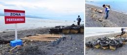 Alat kebersihan yang digunakan untuk mengangkat puing dan sampah pantai