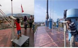 Pengunjung yang sedang Binocular ke arah pantai (foto dok pri).