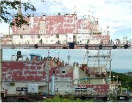Pengunjung menikmati pemandangan kota di atas kapal tsunami PLTD Apung. Saat berada di puncak kapal pengunjuung akan tahu berapa jauh kapal itu terseret arus tsunami. Karena dari geladak setinggi 20 meter lebih akan terlihat laut dan dermaga Ulee Lheu (foto dok pri).