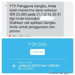 Konfirmasi terima cashback dari UANGKU, baik via notifikasi SMS maupun via aplikasi UANGKU. (foto: dokpri)