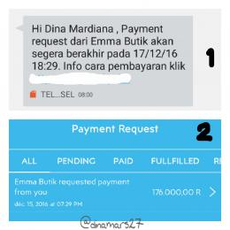 Payment request reminder melalui notif SMS, dan payment request melalui aplikasi UANGKU. (foto: dokpri)