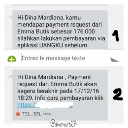 Payment request dari Emma Butik juga dikirimkan via notifikasi SMS. (foto: dokpri)