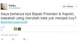 Masih dengan Kicauan Saya Bertanya, akun @dwikydsyah