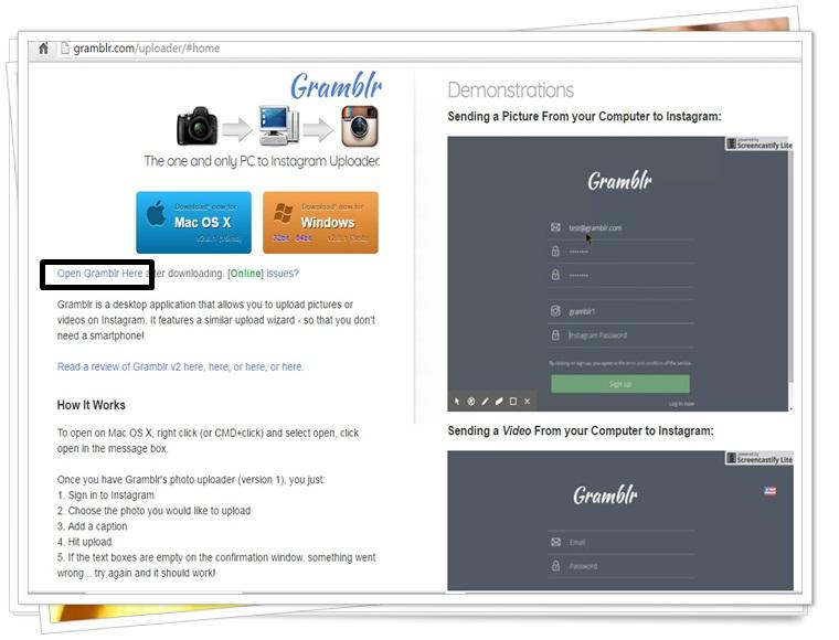 SS Home Gramblr dan link menuju menu login melalui web adress bar.