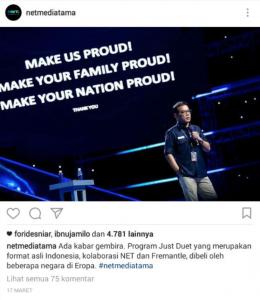 Program Just Duet Dibeli oleh Beberapa Negara di Eropa! (Instagram NETMEDIATAMA)