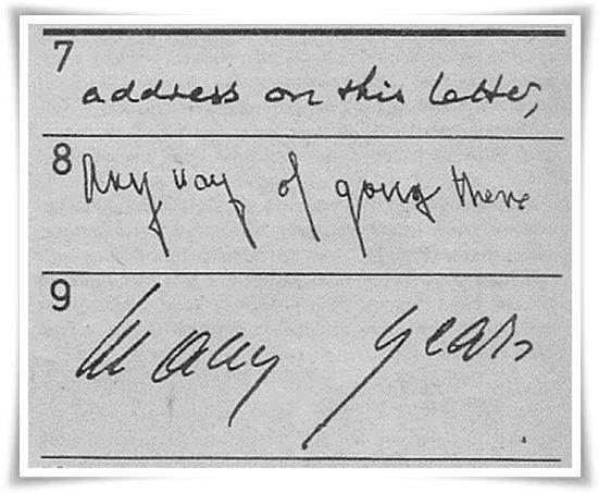 Beberapa contoh tulisan tangan (Sumber: Misteri Masa Depan Anda, Penerbit Arcan, 1993)