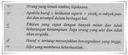 Beberapa contoh pembacaan (Misteri Tubuh Anda, Penerbit Arcan, 1995)