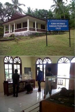 Rumah Informasi Kawasan Perasejarah Caleo (atas) dengan ruang pamer yang sangat sederhana/Ft: Mahaji Noesa