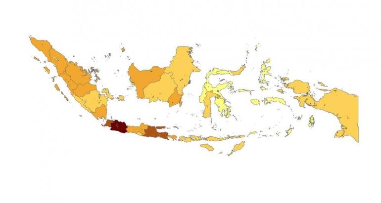 Peta Jumlah Produk Industri Bersertifikat SNI setiap provinsi (sumber : pribadi)