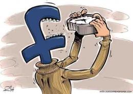 Gambar 2: Karikatur facebook seolah menyindir generasi sekarang yang lupa waktu karena asyik berfacebook ria || detutorial.com