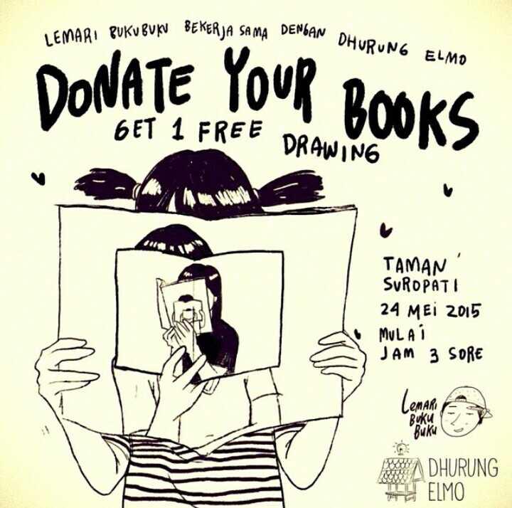 Lemari Buku-Buku Untuk Dhurung Elmo, sebuah taman baca yang ada di Pulau Bawean, Kabupaten Gresik, Jawa Timur.