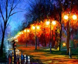 Fall, Rain, Alley by Leonid Afremov (afremov.com)