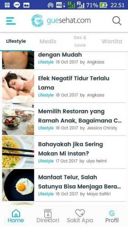 Mencari artikel kesehatan melalui direktori lifestyle dari guesehat.com (Dokpri)