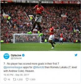 Selebrasi Lukaku saat berhasil mencetak gol sekaligus menyamai prestasi Andy Cole (bola.com)