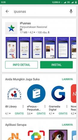 Aplikasi iPusnas (screenshot pribadi)