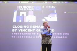 Vincent Guerend, Duta Besar Uni Eropa untuk Indonesia dan Brunei Darussalam saat menyampaikan sambutan penutup dalam malam penutupan Europe on Screen 2018 (dok. Europe on Screen)