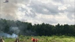 Regu pemadam kebakaran (RPK) berusaha memadamkan api yang membakar hutan dan lahan di area konsesi perusahaan APP Sinar Mas, Sumatera Selatan dalam rangkaian simulasi jelang Asian Games 2018/rul