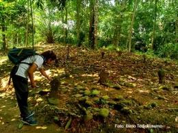 Memperhatikan bentuk nisan kuno di Situs Garisul, Kampung Garisul, Desa Kalong Sawah, Kec. Jasinga, Kab. Bogor