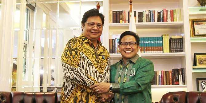 Airlangga Hartarto dan Muhaimin Iskandar. Sosok Ketua Umum Partai Golkar dan Ketua Umum Partai Kebangkitan Bangsa (PKB) ini bertemu pada Rabu (5/7/2018) (Liputan6.com/Herman Zakharia)