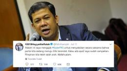 Fahri Hamzah dan twitnya menyerang pimpinan PKS [diolah dari Lombokkita.com dan twitter/Fahrihamzah]