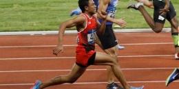 Pelari muda asal Indonesia, Lalu Muhammad Zohri, tampil pada final nomor lari 100 meter putra Asian Games 2018 di Stadion Utama Gelora Bung Karno, 26 Agustus 2018. (Sumber: kompas.com)