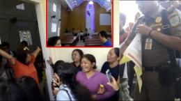 Warga histeris saat gerejanya disegel (Foto: tribunnews.com)