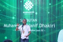 Menteri Ketenagakerjaan Hanif Dhakiri saat menyampaikan sambutan dalam peluncuran creative room di BBPLK Bekasi (16/11/18) (dok. Humas Kemnaker)