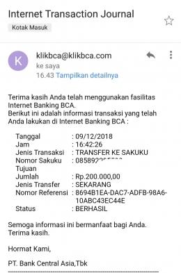 Deskripsi : Bukti transfer yg dikirimkan BCA ke email pribadi I Sumber Foto : Email