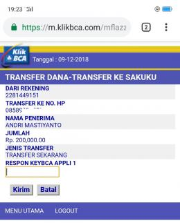 Deskripsi : Transfer Dana dari KlikBCA ke SAKUKU I Sumber Foto : Screenshoot KlikBCA