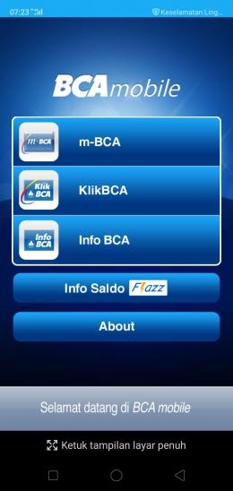 Deskripsi : Tampilan fitur-fitur BCA Mobile I Sumber Foto : dokpri