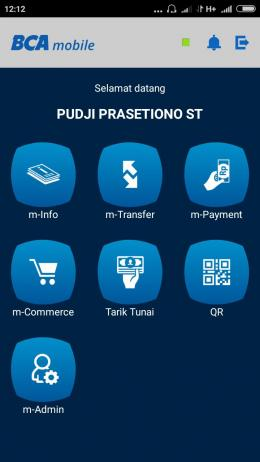 Menu aplikasi Mobile BCA (Dok. Pribadi)