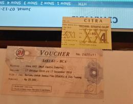 Voucher Rp 25 ribu tuk nonton film di Citraland Mal Grogol. (Foto Ganendra)