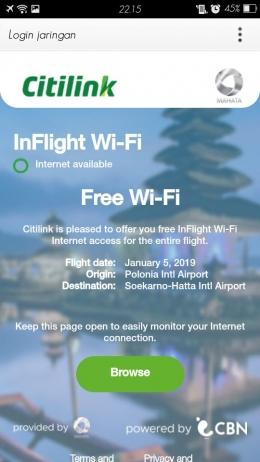 Screenshoot perangkat terkoneksi inflight wifi dari citilink