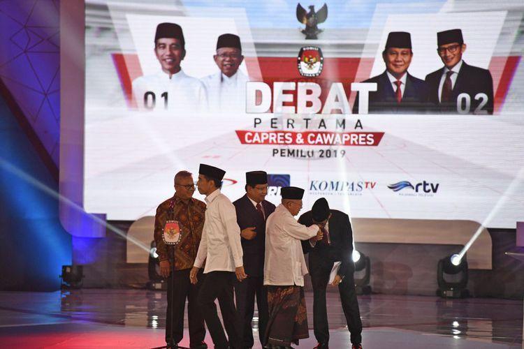 Pelaksanaan debat pertama Capres & Cawapres Pemilu 2019 (Foto: Antara Foto/Sigid Kurniawan)