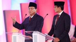 Pasangan Prabowo Subianto dan Sandiaga Uno dalam debat pertama Pilpres 2019. (Foto: kompas.com)