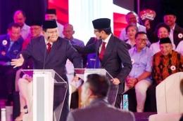 Prabowo Subianto sempat berjoget ketika debat pertama Pilpres 2019. (Foto: Bisnis/AbdullahAzzam)