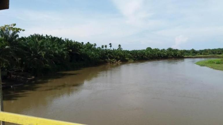 Sungai Inderapura dipotret dari Jembatan Gantung Tanjung Medan. Dokumen pribadi.